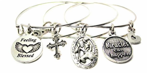 Feeling Blessed, St. Christopher, Miracles Can Happen Trio - 3 Piece Expandable Bangle Bracelet Set