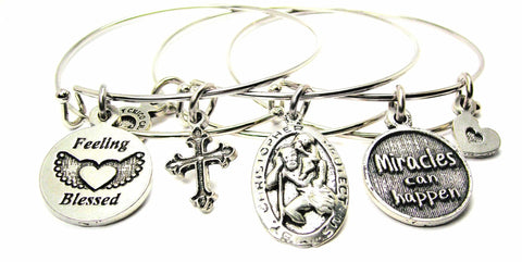 3 Piece Feeling Blessed, St. Christphor, Miracles Can Happen Trio Expandable Bangle Bracelet Set