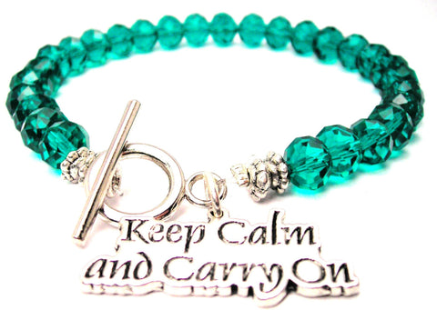 Keep Calm And Carry On Crystal Beaded Toggle Style Bracelet