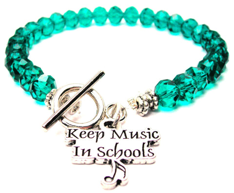 Keep Music In Schools With A Music Note Crystal Beaded Toggle Style Bracelet