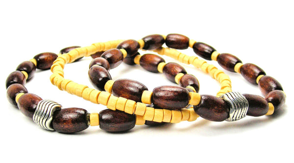 Men's Wood Beaded Bracelet Set of Three