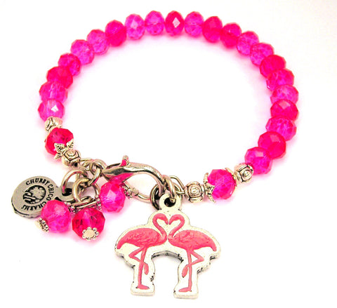 Flamingos In Love Splash Of Color Crystal Bracelet