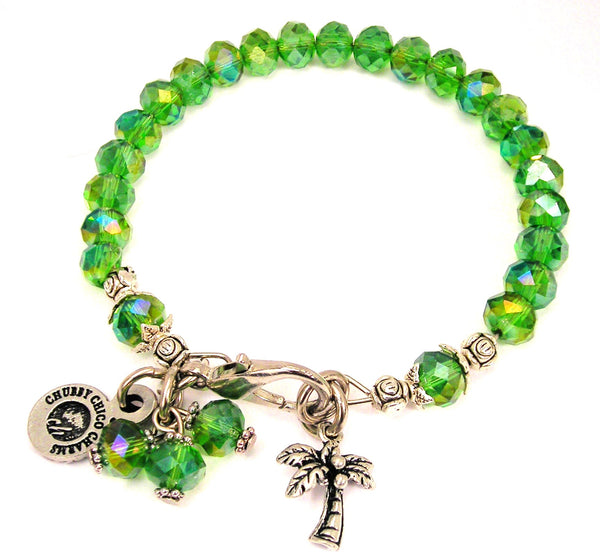 Palm Tree Splash Of Color Crystal Bracelet