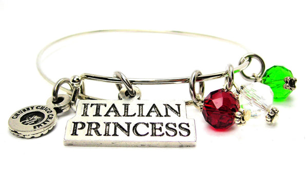 Italian Princess With Red White Green Crystal Accents Bangle Bracelet