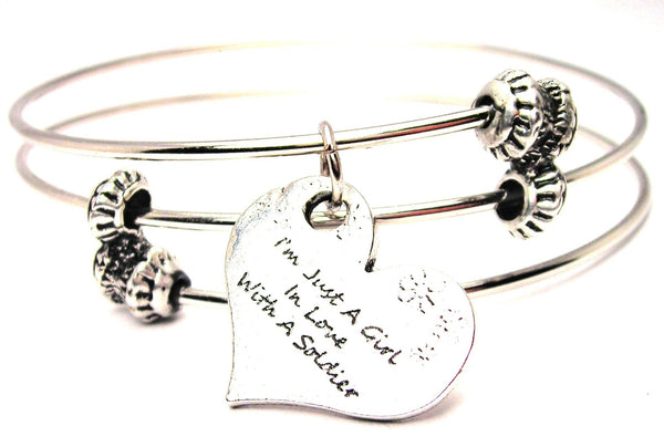 I'm Just A Girl In Love With A Soldier Triple Style Expandable Bangle Bracelet