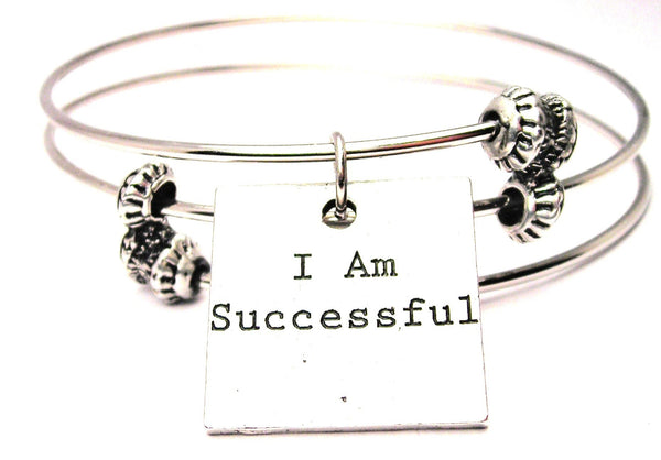 I Am Successful Triple Style Expandable Bangle Bracelet