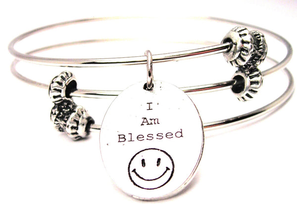 I Am Blessed With Happy Face Triple Style Expandable Bangle Bracelet