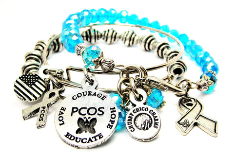 3 Piece PCOS Awareness Ribbon Buterfly Trio Expandable Bangle Bracelet Set