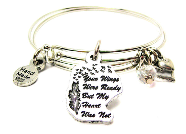 Your Wings Were Ready But My Heart Was Not Expandable Bangle Bracelet Set