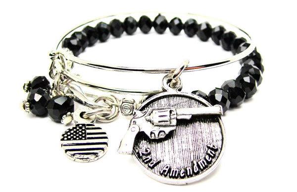 2nd Amendment With Revolver Charm Expandable Bangle Bracelet Set
