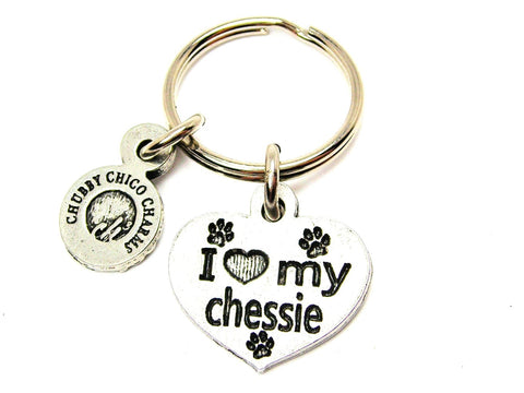I Love My Chessie Dog Breed Key Chain