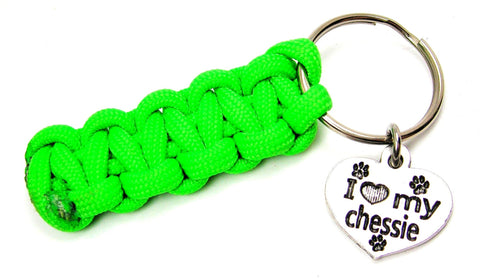 I Love My Chessie Dog Breed Paracord 550 Military Spec Paracord Key Chain
