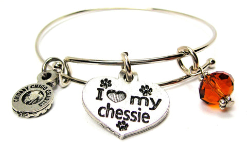 I Love My Chessie Dog Breed Expandable Bangle Bracelet