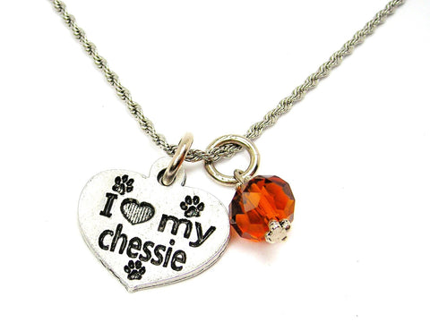 I Love My Chessie Dog Breed Necklace