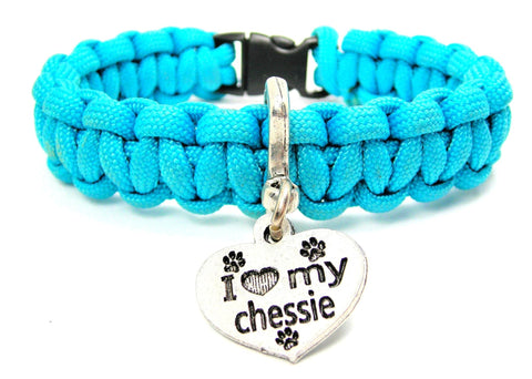 I Love My Chessie Dog Breed 550 Military Spec Paracord Bracelet