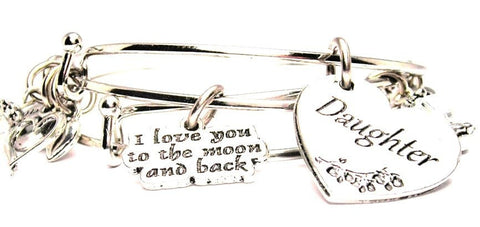 Buy The Daughter Heart Bangle Get A Free I Love You To The Moon And Back Expandable Bangle Bracelet