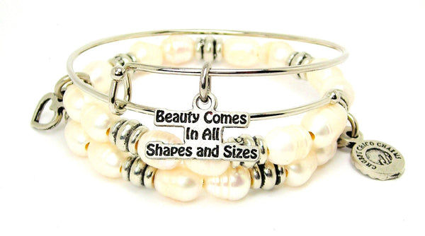 Beauty Comes In All Shapes And Sizes Fresh Water Pearls Expandable Bangle Bracelet Set