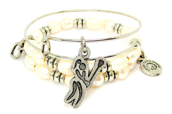 Lacrosse Girl Silhouette With Stick Fresh Water Pearls Expandable Bangle Bracelet Set