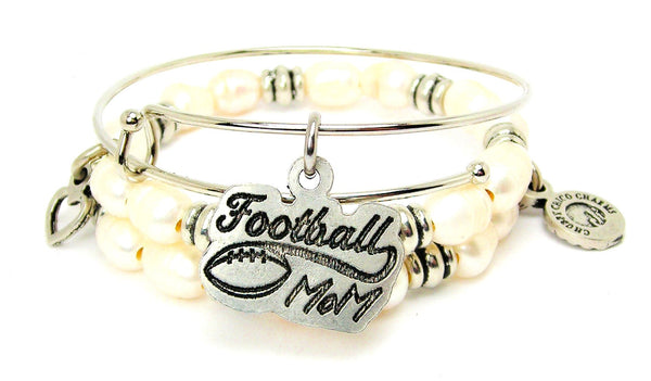 Football Mom With Football Fresh Water Pearls Expandable Bangle Bracelet Set