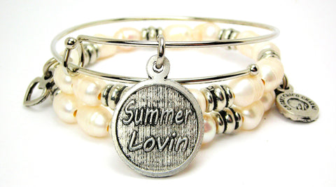 Summer Lovin Fresh Water Pearls Expandable Bangle Bracelet Set