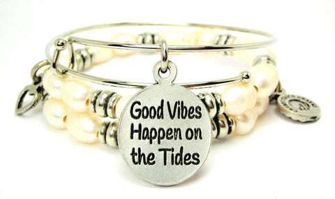 Good Vibes Happen On The Tides Fresh Water Pearls Expandable Bangle Bracelet Set