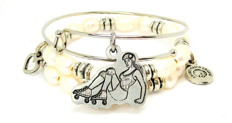 Derby Girl On All Fours Fresh Water Pearls Expandable Bangle Bracelet Set