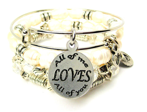 All Of Me Loves All Of You Fresh Water Pearls Expandable Bangle Bracelet Set