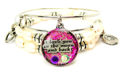 I Love You To The Moon And Back Purple Glitter Resin Fresh Water Pearls Expandable Bangle Bracelet Set