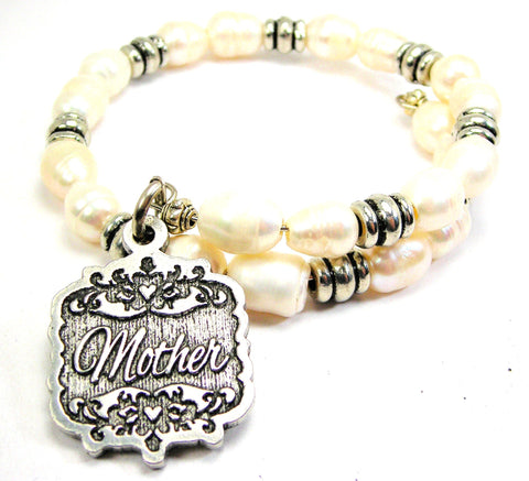 Mother Victorian Scroll Fresh Water Pearl Wrap Bracelet