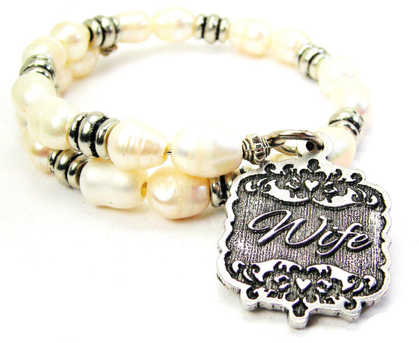 Wife Victorian Scroll Fresh Water Pearl Wrap Bracelet
