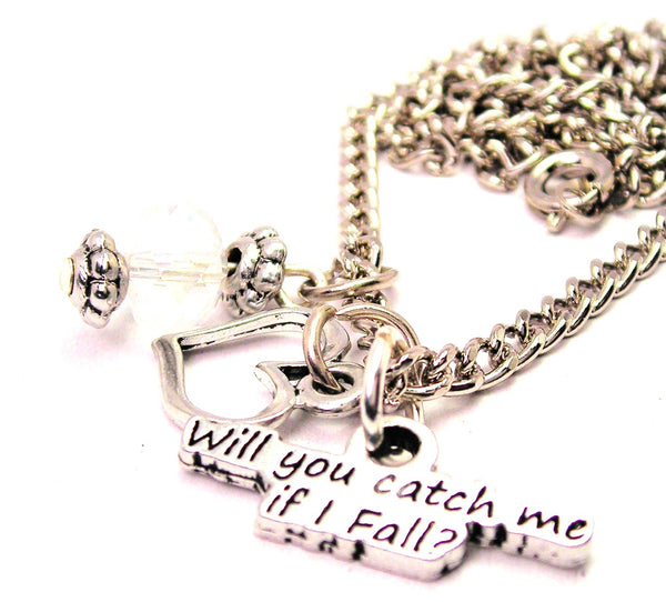 Will You Catch Me If I Fall Necklace with Small Heart