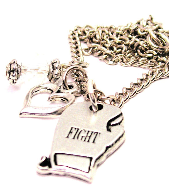 Fight Boxing Glove Necklace with Small Heart