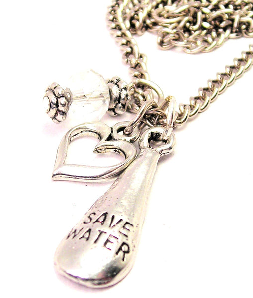 Save Water Drop Necklace with Small Heart