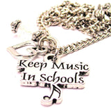 Keep Music In School Necklace with Small Heart