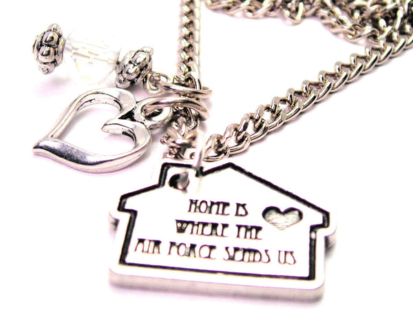 Home Is Wear The Air Force Sends Us Necklace with Small Heart