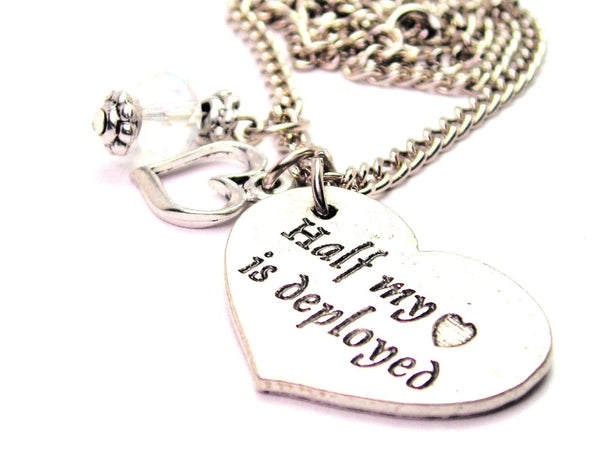 Half My Heart Is Deployed Necklace with Small Heart