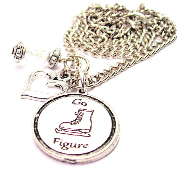 Go Figure - Figure Skating Necklace with Small Heart