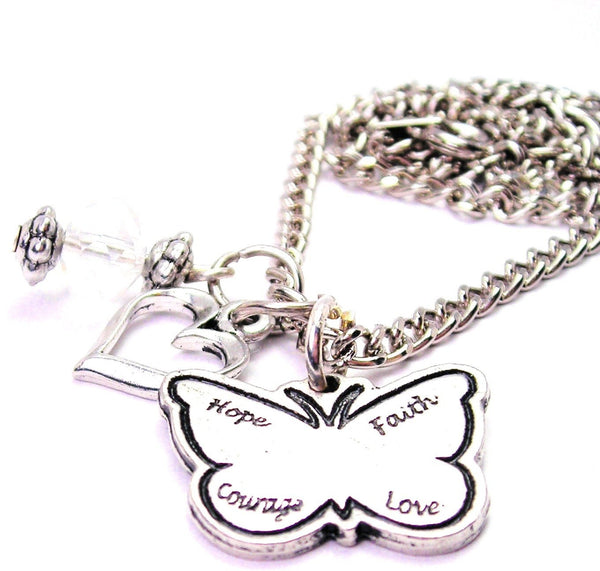 Hope Faith Love Courage Butterfly Necklace with Small Heart