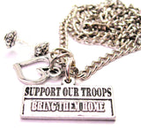 Support Our Troops Bring Them Home Necklace with Small Heart