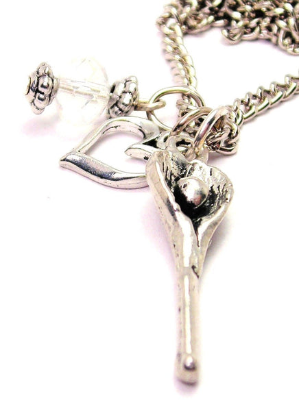 Lacrosse Stick Necklace with Small Heart