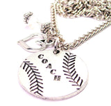 Baseball Softball Coach Necklace with Small Heart