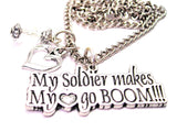 My Soldier Makes My Heart Go Boom Necklace with Small Heart