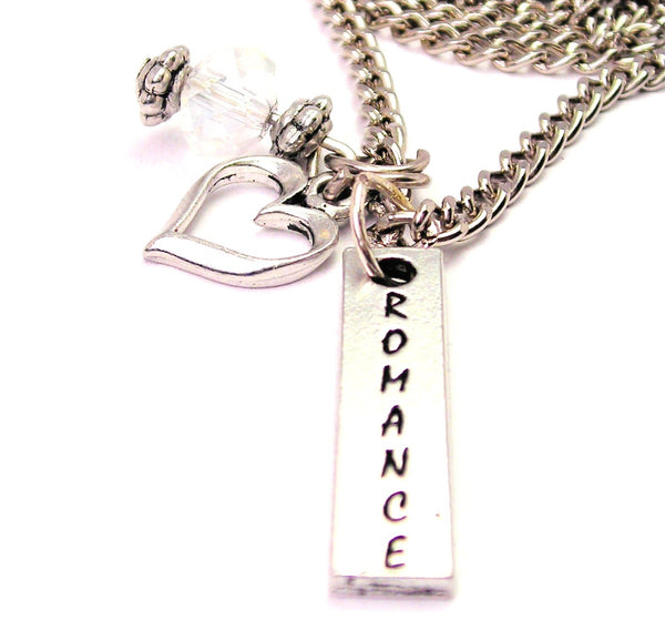 Romance Long Tab Necklace with Small Heart