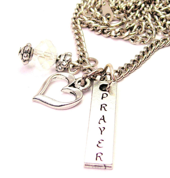 Prayer Long Tab Necklace with Small Heart
