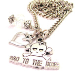 Bad To The Bone Female Skull Necklace with Small Heart