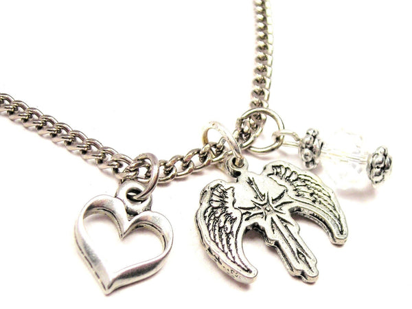 Cross With Wings Necklace with Small Heart