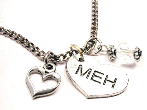 Meh Heart Necklace with Small Heart
