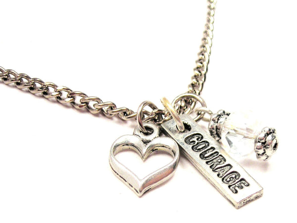 Courage Long Tab Necklace with Small Heart