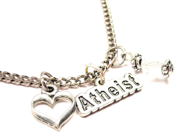 Atheist Necklace with Small Heart