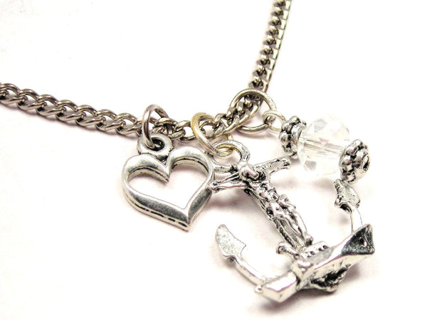 Fisherman's Cross Necklace with Small Heart